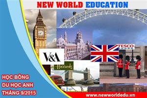 Cơ hội cuối nhận học bổng du học Anh tháng 9/2015